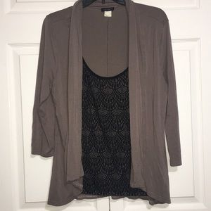 Venus black lace top with attached cardigan